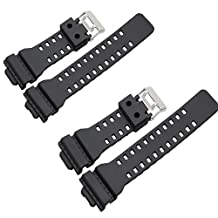 2pc Ritche Watch Band for Casio 10347688 G-shock G-8900, Ga-100, Ga-110, Ga-120, Ga-300, Gac100, Black