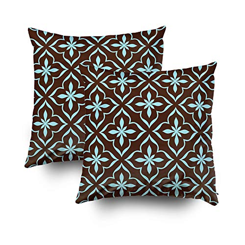 ROOLAYS Decorative Throw Square Pillow Case Cover 18X18Inch,Cotton Cushion Covers Ornamental pattern abstract background Both Sides Printing Invisible Zipper Home Sofa Decor Sets 2 PCS Pillowcase