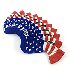 Product Name:HUGELOONG Golf Iron Covers Set-Knit Head Covers with Numbers on Top-USA Stars and Stripes Design,11 Piece(3~9,P,A,S,L) Material:Acrylic Size: Approx 18*7*1cm