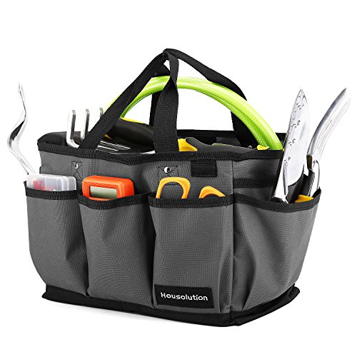 Housolution Gardening Tote Bag, Deluxe Garden Tool Storage Bag and Home Organizer with Pockets, Wear-Resistant & Reusable, 12 Inch, Gray & Black
