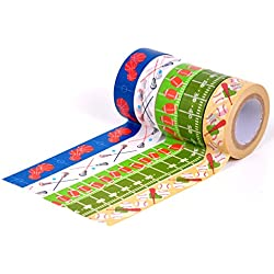 HIART Repositionable Washi Tape, Sports Collection, Game On, Set of 5