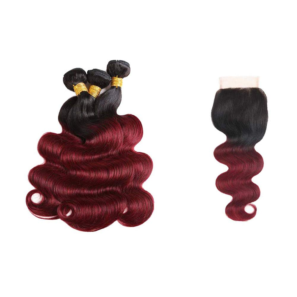 Seelaak 99j Bundles with Closure Body Wave Bundles with 4x4 Closure 100% Unprocessed 10A Virgin Human Hair Weaves Ombre 1b/99j Hair Extensions (10 12 14+10)