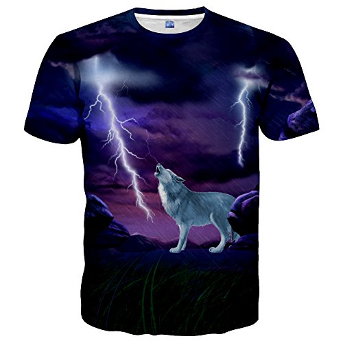 Neemanndy Unisex 3D Print T Shirts with Animal Graphic Short Sleeve T Shirt for Summer, Large