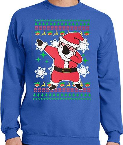 LiberTEES Big and Tall King Size Ugly Dabbing Santa Christmas Sweater (4XLT, Royal (Big And Tall Christmas Sweaters)