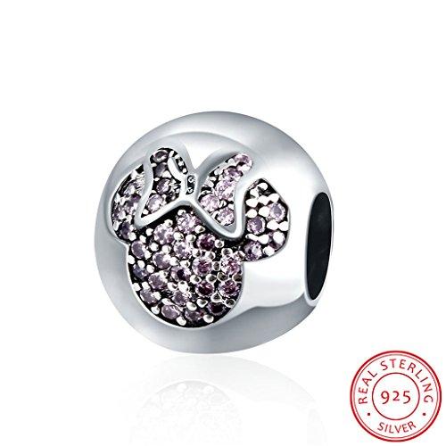 HMILYDYK Birthstone Minnie Mouse 925 Silver Swarovski Element CZ Crystal Charm Bead Fits Pandora Bracelets