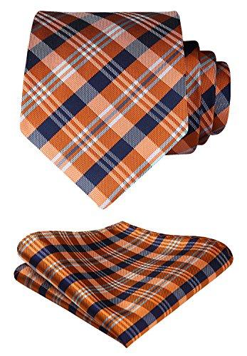 HISDERN Extra Long Check Tie Handkerchief Men's Necktie & Pocket Square Set (Orange & Blue)