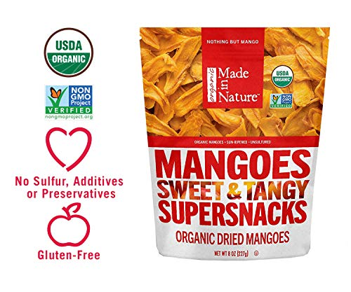 Made in Nature Organic Dried Mangoes, 8 oz - Non-GMO Vegan Dried Fruit Snack (Dried Fruit Sugar)