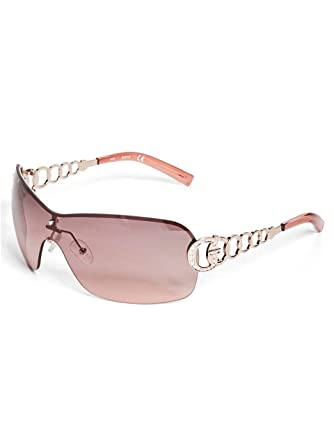 18a54c554 Amazon.com: GUESS Factory Women's Rimless Shield Sunglasses: Clothing