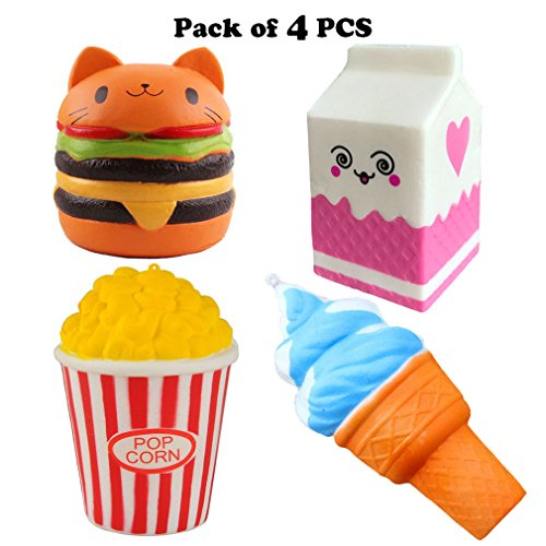 Bestkiy Pack of 4 Jumbo Slow Rising Squishies Kawaii Cat Hamburger Popcorn Ice Cream Milk Box Charms Stress Relief Toys Scented Toys Decorations Hand Pillows