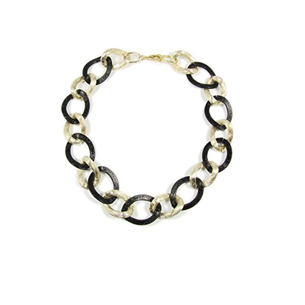 Martinuzzi Accessories Link Necklace Black and Gold Color