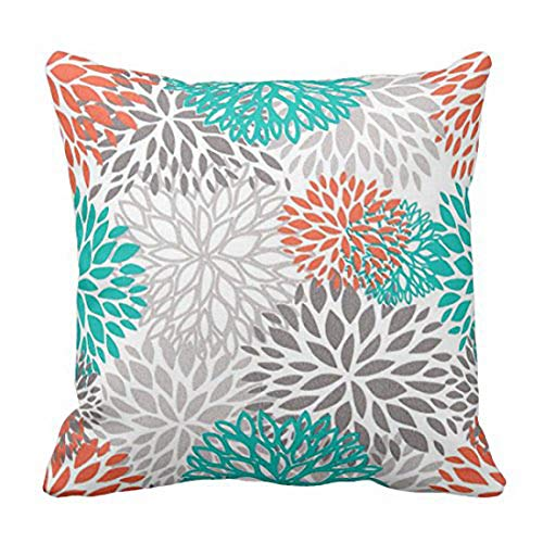 Emvency Throw Pillow Cover Blue Aqua Orange Gray and Floral Anchors Decorative Pillow Case Home Decor Square 18 x 18 Inch Pillowcase