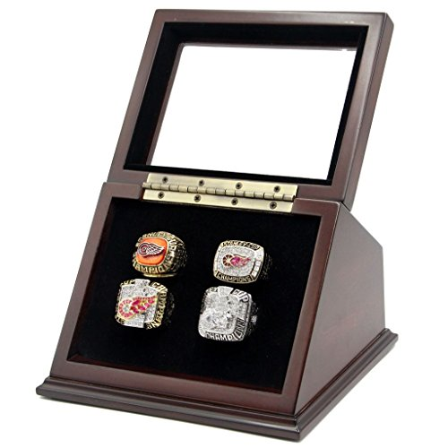 4 Slots Championship Rings Wooden Display case Shadow Box with Slanted Glass Window for Football Rings Basketball Hockey Sports Championship Rings - Rings are Not Included