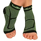 TechWare Pro Ankle Brace Compression Sleeve - Relieves Achilles Tendonitis, Joint Pain. Plantar Fasciitis Foot Sock with Arch Support Reduces Swelling & Heel Spur Pain. (Black / Green, S / M)