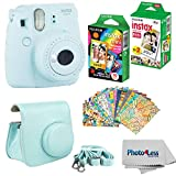 Fujifilm Instax Mini 9 Instant Film Camera (Ice Blue) - Fujifilm Instax Mini Instant Film, Twin Pack - Fujifilm Instax Mini Rainbow Film - Case for Fuji Mini Camera - Fuji Instax Accessory Bundle