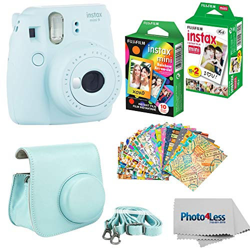 Fujifilm Instax Mini 9 Instant Film Camera (Ice Blue) – Fujifilm Instax Mini Instant Film, Twin Pack – Fujifilm Instax Mini Rainbow Film – Case for Fuji Mini Camera – Fuji Instax Accessory Bundle