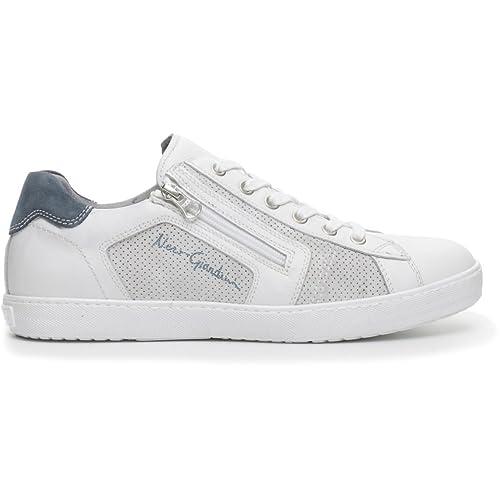 Nero Giardini Scarpe Uomo Sneakers Pelle Bianca P704960U-707  Amazon.it   Scarpe e borse 3a63d229dee