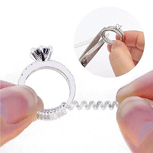YIKOXI 10pcs Invisible Ring Size Adjuster for Loose Rings Ring Adjuster Fit Any Rings, Assorted Sizes of Ring Sizer