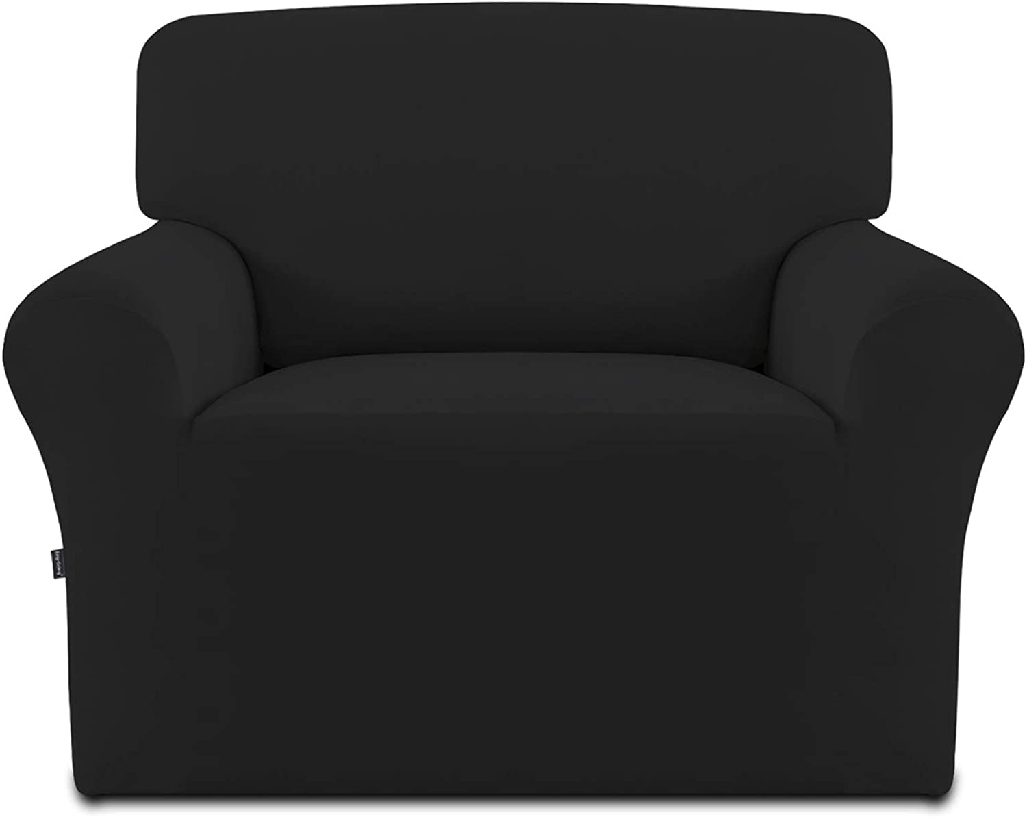 Easy-Going Fleece Stretch Sofa Slipcover – Spandex Anti-Slip Soft Couch Sofa Cover, Washable Furniture Protector with Anti-Skid Foam and Elastic Bottom for Kids, Pets(Chair,Black)