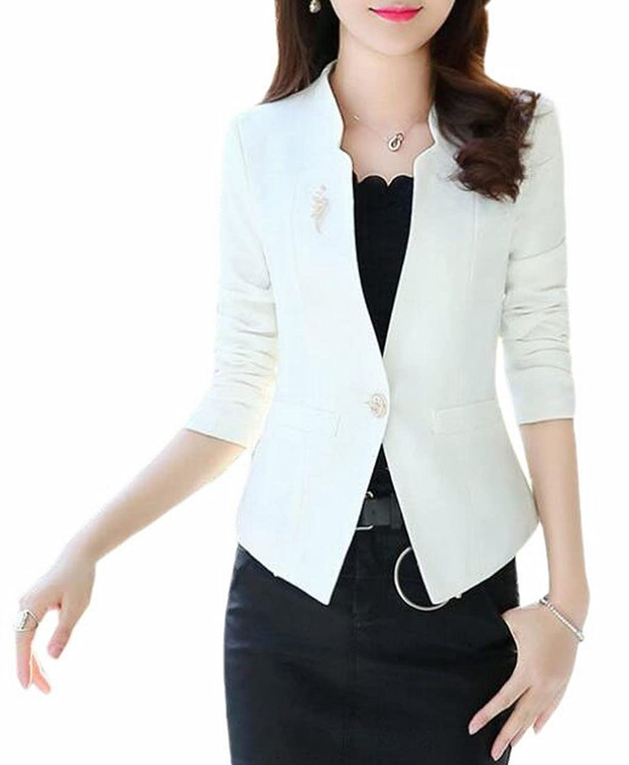 Alion Women's Classic One Button Slim Fit Stand Collar Modern Suit Jacket Blazer free shipping