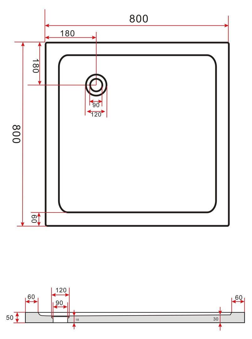 Neu 80x80 Duschtasse Duschwanne Extra Flach 50 mm Rechteck Weiß  WO53