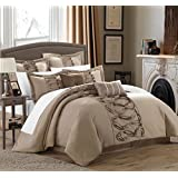 Chic Home 8-Piece Ruth Ruffled Comforter Set, Queen, Taupe