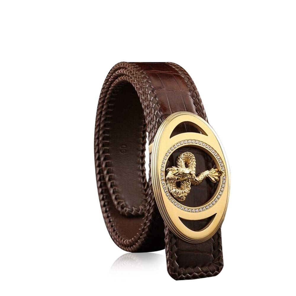 HYLIUP Mens Belt High-End Classic Design Woven Belt Mens Leather Youth Pants with Mens Belt Middle-Aged Business Belt