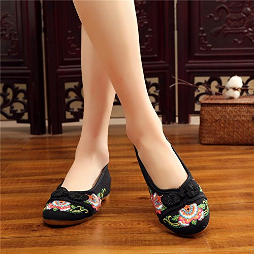 AvaCostume Women Chinese Style Embroidery Fashion Frog Cheongsam Shoes Black m1MTWfl6