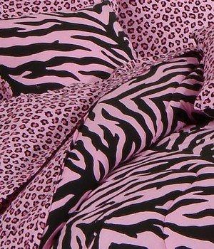 Pink Zebra/Leopard Square Pillow ()