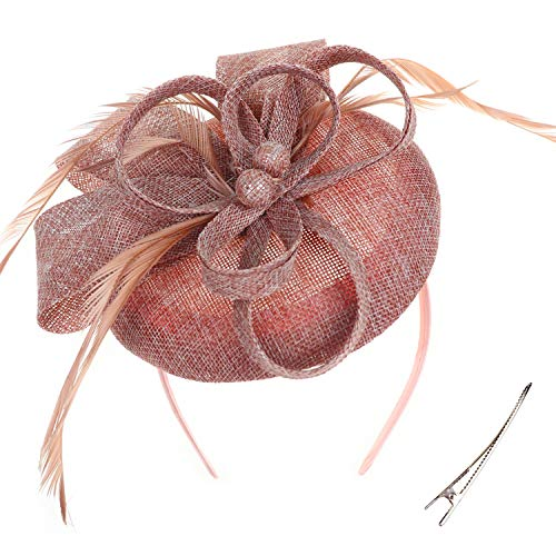 (DRESHOW Fascinator Hat Cocktail Tea Party Hat Feather Ribbon Bow Pillbox Hat with Hair Clip and Headband for Women and Girls)