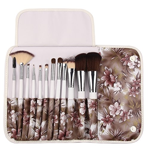 UNIMEIX Makeup Brushes12 Pieces Professional Makeup Brush Set Powder Fan Contour Concealer Brushes With Soft Azalea Flower Bag (Coffee)