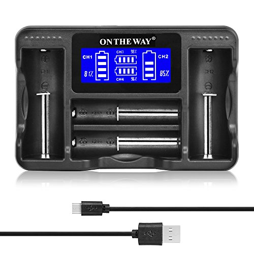 Intelligent 4 Slot Universal Battery Charger,LCD Display Speedy Automatic Charging Mode Charger for Rechargeable Batteries Ni-MH/Ni-Cd AA AAA AAAA C ,Li-ion 18650 16340(RCR123) 14500 26650