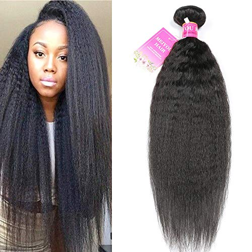 - Mei You 8A Kinky Straight Hair 1 Bundles Yaki Human Hair Weave Unprocessed Brazilian Virgin Remy Sew in Hair Extensions Natural Black (22'')