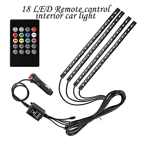 Multi-color car LED lights with illuminated decorative strip lights, with active function and wireless remote control function [4PCS 72 LED SETS]