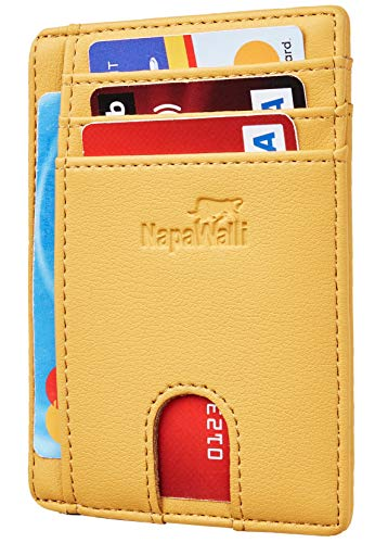 (Toughergun RFID Blocking Minimalist Genuine Leather Slim Front Pocket Wallet U (Alaskia Yellow))
