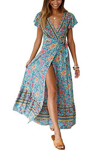 PRETTYGARDEN Women's Summer V Neck Wrap Vintage Floral Print Short Sleeve Split Belted Flowy Boho Beach Long Dress (129 Green, Medium)