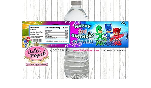 Amazon.com: 10 PJ Masks Birthday Party Custom WATER BOTTLE LABELS Party Favors Any Age: Handmade