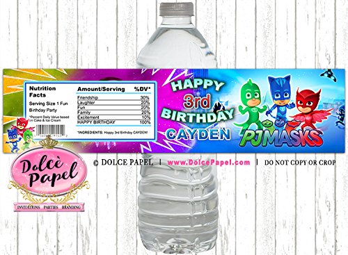 10 PJ Masks Birthday Party Custom WATER BOTTLE LABELS Party Favors Any Age