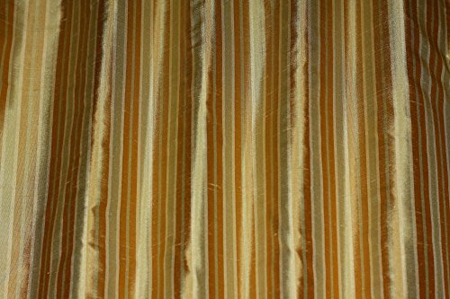 Gold & Taupe Vertical Stripes, 100% Silk Dupioni Shantung, By The Yard, 54