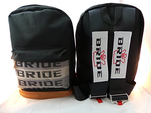 Bride JDM Racing Backpack Racing Harness Shoulder Straps Zipper Pockets w Padded Computer Compartment (Bride Logo Black -