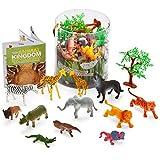 Joyin Toy 60 Pieces Safari Jungle Animal Figures Toy Set Realistic Wild Plastic Animal Playset - Animal Encyclopedia Included (2.5 to 5.5 Inches)