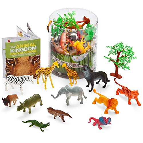 Joyin Toy 60 Pieces Safari Jungle Animal Figures Toy Set Realistic Wild Plastic Animal Playset - Animal Encyclopedia Included (2.5 to 5.5 Inches)