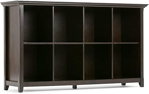 Simpli Home Amherst SOLID WOOD 57 inch Wide Transitional 8 Cube Bookcase Storage Sofa Table in Hickory Brown with Storage, 8 Shelves, for the Living Room, Entryway and Bedroom
