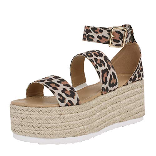 (FISACE Womens Espadrille Double Strap Snake Print Leopard Platform Wedge Sandal Shoes)