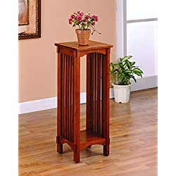 Coaster Traditional Mission Style Oak Square Plant Stand