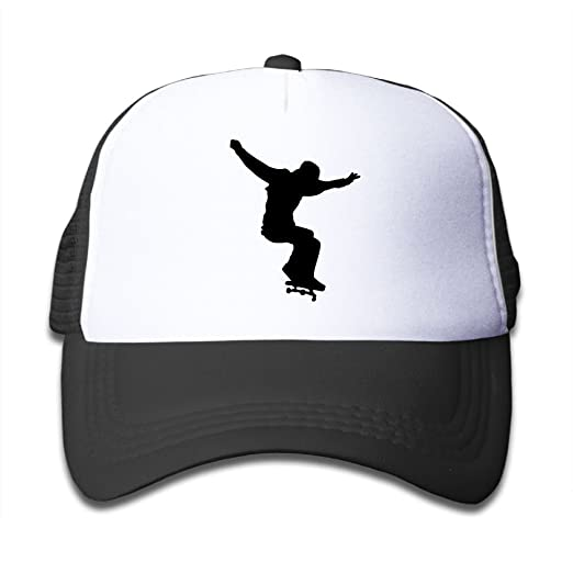 Amazon.com  Skateboard Clipart Silhouette On Kids Trucker Hat 9ebeeaac6a6