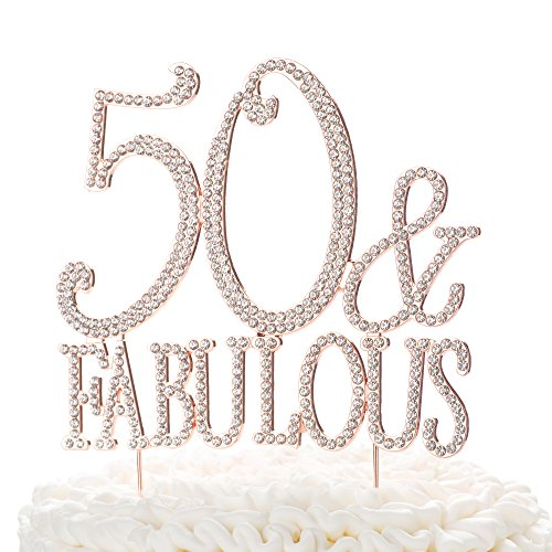 (Ella Celebration 50 & Fabulous Cake Topper for 50th Birthday Party Rose Gold Decoration Supplies (50 & Fabulous Rose)