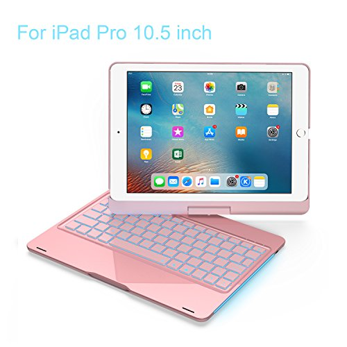 iPad Keyboard Case 10.5 Pro / 360 Degree Rotatable/Aluminum Shell Folio Case / 7 Color Backlit/Bluetooth Keyboard/Auto Sleep-Wake for 2017 Apple iPad Pro 10.5/ (Rose Gold)