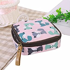 Dolland Cute Cartoon Coin Purse Waterproof Zipper Sanitary Napkin Cosmetic Storage Bag