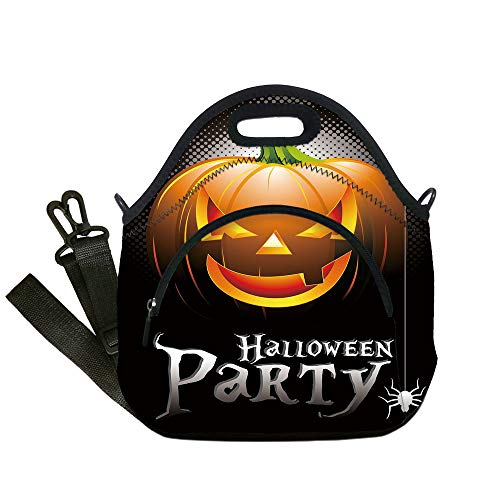 Insulated Lunch Bag,Neoprene Lunch Tote Bags,Halloween,Halloween Party Theme Scary Pumpkin on Abstract Modern Backdrop Spider Decorative,Silver Black Orange,for Adults and children]()