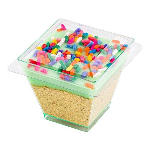 Mini Kova Dessert Tumbler, Dessert Cup Lid - Square - Clear - Plastic Lid - Disposable - 100ct Box - Restaurantware -